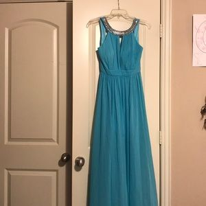 Tiffany blue formal evening gown